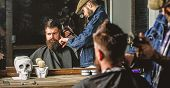 Haircut Concept. Barber With Hair Clipper Works On Hairstyle For Man With Beard, Barbershop Backgrou poster