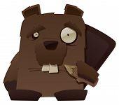 foto of buck teeth  - This is a vector cartoon of a strange looking beaver - JPG