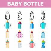 Baby Bottle, Childcare Equipment Vector Linear Icons Set. Baby Bottles With Latex, Silicone Nipples  poster