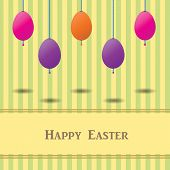 Easter Card With Colorful Eggs