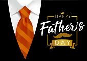 Happy Father`s Day Vector Lettering Background. Happy Fathers Day Calligraphy Banner With With Brown poster