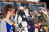 Sesimbra, Portugal - February 20: Man Dreesed Up As Bin Laden In The Sesimbra Carnival - Equal To Th