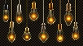 Light Bulb Vintage Set . Glowing Shine Lamp. 3d Realistic Electric Retro Loft Steampunk Style Hangin poster