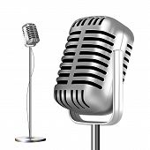 Retro Chrome Microphone With Stand . Musical Symbol. Performance Object. Mic Isolated. Illustration poster