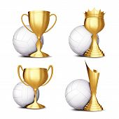 Volleyball Game Award Set . Volleyball Ball, Golden Cup. Modern Volleyball Tournament. Design For Sp poster