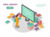 Media Book Library Concept. Reading Web Archive. E-learning Online, Archive Of Books Illustration. F poster