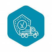 Finish Truck Delivered Icon. Outline Finish Truck Delivered Vector Icon For Web Design Isolated On W poster