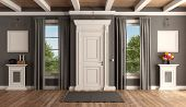 White And Gray Home Entrance Of A Classic Villa With Closed Front Door And Two Windows - 3d Renderin poster