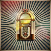 pic of jukebox  - illustration of style detailed classic juke box on retro grunge background - JPG