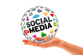stock photo of socialism  - Hand holding a Social Media 3d Sphere sign on white background - JPG