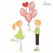 Cute boy gives balloons to the girl