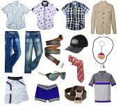male clothes collection isolated on white