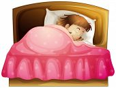 Illustration of a girl sleeping in her bed on a white background