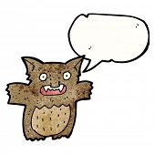 stock photo of gremlins  - cartoon little gremlin with speech bubble - JPG