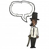 cartoon untidy man in top hat