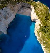 Aerial view of the famous Shipwreck beach Navagio on the island of Zakynthos Greece