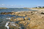 Rocky coastline of Portivy in France