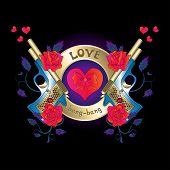 Logo With A Gun And Roses Red Hearts
