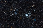 stock photo of perseus  - Real starfield with the double star cluster in Perseus captured with an amateur telescope - JPG