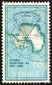 Postage stamp Norway 1956 Map of South Pole with Queen Maud Land