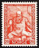 Postage stamp Norway 1941 Snorri Sturluson, Icelandic Historian