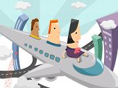 Cartoon Illustration of a Woman Flying on an Airplane