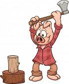 Holzfäller Schwein Holzhacken. Vektor Clip Art Illustration mit einfachen Steigungen. Schwein und Protokolldateien auf sep