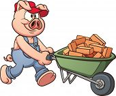 Pig with wheelbarrow. Vector clip art illustration with simple gradients. All in a single layer.