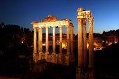 Ruins Of The Roman Forum By Night
