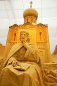 Sand Sculpture Of Russian Orthodox Church,Moscow