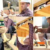 stock photo of 2x4  - Montage of carpenter working on wooden house - JPG