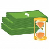 Time is money concept. Money icon. Money stack and golden hourglass.