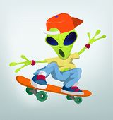 Cartoon Character Funny Alien Isolated on Grey Gradient Background. Skateboarding. Vector EPS 10.
