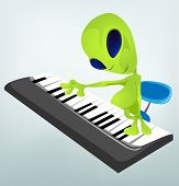 Dibujos animados carácter divertido Alien aislado en fondo gris degradado. Pianista. Vector EPS 10.