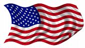 Usa Flag Billowing On White Background