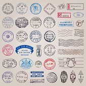 Vector-Set Vintage Briefmarken