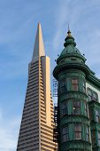 Old and new San Francisco skyline icons