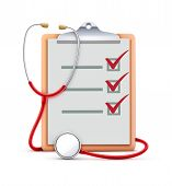 stock photo of clipboard  - Vector illustration of healthcare concept with cool check list on clipboard and red stethoscope - JPG
