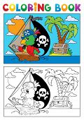 Coloring book pirate parrot theme 3 - vector illustration.