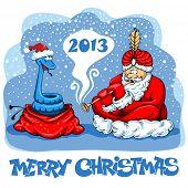Santa Claus as a snake charmer. Creative design by 2013.