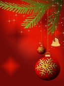 Christmas Bulbs And Bell On Red Background