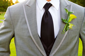 stock photo of lapel  - A groom and his boutonniere on his wedding day - JPG