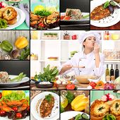 Collage on culinary theme consisting of delicious dishes and cooks
