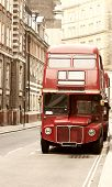 picture of chimes  - Vintage photo of old red London bus - JPG