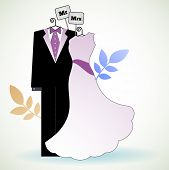 Bride and groom clothing on hangers - Mr and Mrs concept