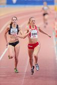 VIENNA, AUSTRIA - JANUARY 29 Line Kloster (#355 Norway) places 3rd in the women's 400m event on Janu