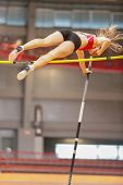 VIENNA, AUSTRIA - JANUARY 29 Line Kloster (#355 Norway) places 3rd in the women's pole vault event o