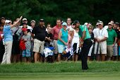 NORTON, MA-SEP 1: Tiger Woods hits out of the rough during the third round at the Deutsche Bank Cham