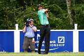NORTON, MA-SEP 1: Tiger Woods tees off the fifth hole during the third round at the Deutsche Bank Ch