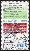 ITALY - CIRCA 1978: a stamp printed in Italy celebrates Constitution of Italy showing initial and final articles of it. Italy, circa 1978